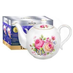 """Teekanne aus Porzellan """"Zarte Rosen"""" mit goldenen Kanten 1,1L"""