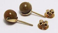 100% Genuine Vintage 18ct. Solid Yellow Gold Brown Natural Jadeite Stud Earrings