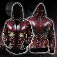 Hot Avengers: Endgame Iron man Tony Stark Hoodie Sweatshirt Cosplay Coat Jacket
