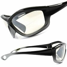 Biker Motorcycle Riding Light Tint Mens Black & Silver Wrap Sport Sun Glasses