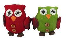Gisela Graham Christmas Tree Decorations - Set of 2 Felt Owl Decorations