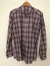 SALE! ETRO 40 Men Multi Colored Long Sleeved Cotton Shirt
