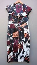CUE Fitted Lined Below Knee Length Dress. Black White Purple. Sz 12.