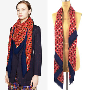 NEW $540 GUCCI Red Navy GG HEARTS STARS Dimmher Cover-Up OVERSIZE SHAWL SCARF