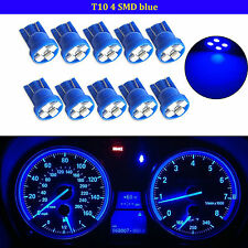 10x T10 Wedge 4-SMD LED Dashboard Light W5W 194 168 2825 Gauge Cluster Bulb Blue
