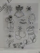 Christmas Stamp A5 Acrylic Sheet - 11 Individual Designs (stocking/holly) AM34