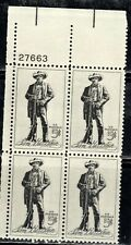 #1242 1964 5-cent Sam Houston block of 4 with plate# MNH