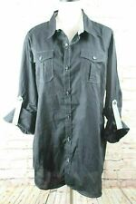 Attention Mens Casual Woven Button Front Shirt Sz XL Black Long Sleeve