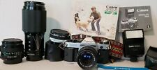 Canon AE-1 35mm SLR Film Camera Kit with FD 50 mm Lens. Very Clean Condition.