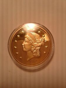 HISTORICAL GOLD EAGLE 1861 PAQUET DOUBLE EAGLE COIN CU 24K LAYERED MINT