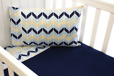 YOU & BOO 3 Piece Cot Sheet Set - Chevron / Blue