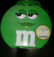GREEN M & M's Metal Tin Candy Lunch Box 2002 Empty