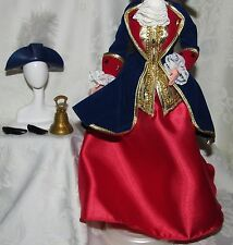 BARBIE PATRIOT RED GOLD BLUE ENSEMBLE FASHION LOT SHOES DRESS HAT BELL FOR DOLL