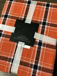 "Cynthia Rowley Orange & Black Plaid Woven Cotton Halloween  Tablecloth 60""x 84"""