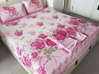 Floral FIRS Superking 100%Cotton Bed Set 4 Pieces Sheet Duvet Cover 2Pillowcases