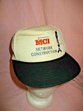 MCI Network Construction Vintage Adjustable Baseball Cap Black Ivory Embroidered