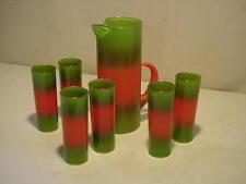 Vintage Blendo Glass Pitcher & 6 Lemonade Tumblers Orange Green Frosted
