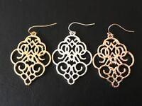 Silver Gold Rose Hoop Earrings Teardrop Boho Ethnic Moroccan Ottoman Filigree