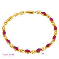 Vintage 9K Gold Filled Womens Red Ruby CZ Girls Chain Flower Bracelet Gift