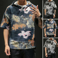 Mens Short Sleeve Hooded Basic Muscle T-shirt Shirts Hoodie Slim Fit Casual Tops