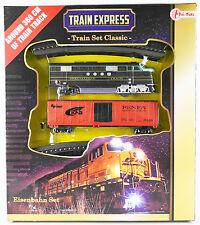 Spielzeug-Eisenbahn-Set TRAIN EXPRESS, US-Diesellok, 1 Güterwagen, 16 Schienen