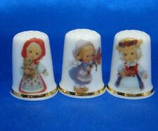 Birchcroft China Thimbles -- Set of Three -- Traditional Costume Girls