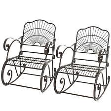 2 PACK Porch Rocker Metal Scroll Garden Chair Patio Iron Rocking Outdoor Deck