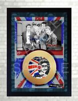 SEX PISTOLS God Save The Queen Mini Gold Vinyl Record Signed Framed Photo Print