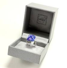 LALIQUE CHARMANTE IRRIDESCENT BLUE CRYSTAL STERLING SILVER RING Sz US-7/T55/UK-O