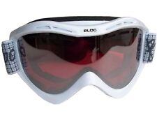 BLOC SKI GOGGLES ADULT SNOWBOARD VMW14 CAT 3 WHITE ROSE SILVER FLASH LENS