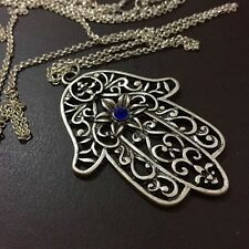 PERSIAN SILVER HAMSA BLESSING HAND GOD PEACE PENDANT NECKLACE PROTECTION