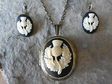(SCOTTISH THISTLE CAMEO LOCKET and FRENCH EARRINGS SET) - SCOTLAND  - BRONZE