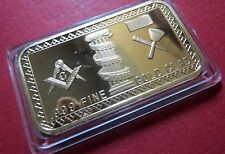 MASONIC BULLION GOLD-CLAD BAR, MASON's LOGO,NICE CAR/VAN DASHBOARD ATTACHMENT #3