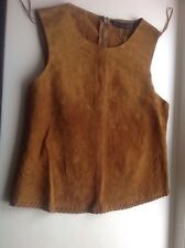 ZARA BASIC Tan/Camel Real Suede Top - Size Eur XS