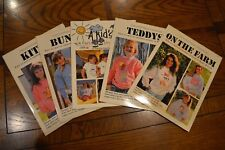 Vintage Iron-On Transfer Books T-Shirt Patterns Bunny Teddy Kitty Kids Lot of 5