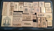 Vintage 1994 STAMPIN UP DOLLHOUSE Victorian Stamp Set COMPLETE Wood Mounted EXC