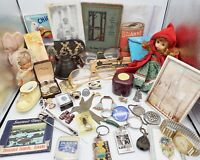 Vintage Junk Drawer Lot Pewter Keychains Smalls Buttons Dolls Book Tape Measure