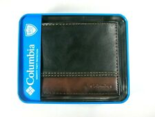 Columbia Mens Bifold Leather RFID Security Wallet Black Brown 31CP220011