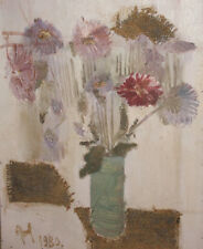 European art 1980 cubist oil painting collage still life with flowers