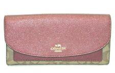 Coach Slim Envelope Wallet Cherry Metallic Leather & Khaki PVC F22714 NWT $265
