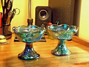 Vintage Indiana Carnival Glass Iridescent Blue Harvest Grape Candle Holders - 2