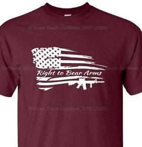 Second Amendment T Shirt American Flag Gun Rights Political  16 Colors Sm - 6X