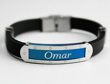 OMAR - Mens Silicone & Blue Name Plate Engraved Bracelet - Eid Gifts