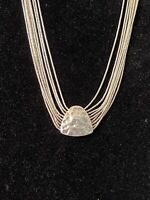 Silpada Sterling Liquid Silver 9 Strand Hammered Pendant Necklace - N1288