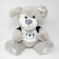 Card Factory Cuddles Collection soft toy grey white puppy dog top t shirt plush