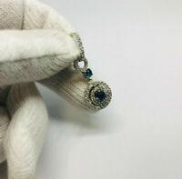 1 ciondolo pendente contorno 2 giri con zirconi bianchi e blu Argento 925