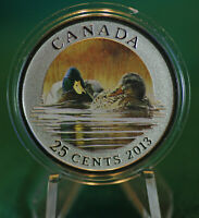 2013 CANADA 25 cent Coloured Coin - Mallard duck: Ducks of Canada #1 - coin only