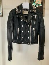 Burberry Brit Studded Quilted Motorcycle Biker Leather Jacket IT 36 US 2 Prorsum
