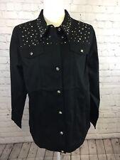 Quacker Factory Stars Sparkle Woven Jacket Women size Medium NWT Free Shipping