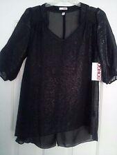 BONGO SHEER TOP WOMEN'S BLACK SHEEN SIZE SMALL  RETAIL $38